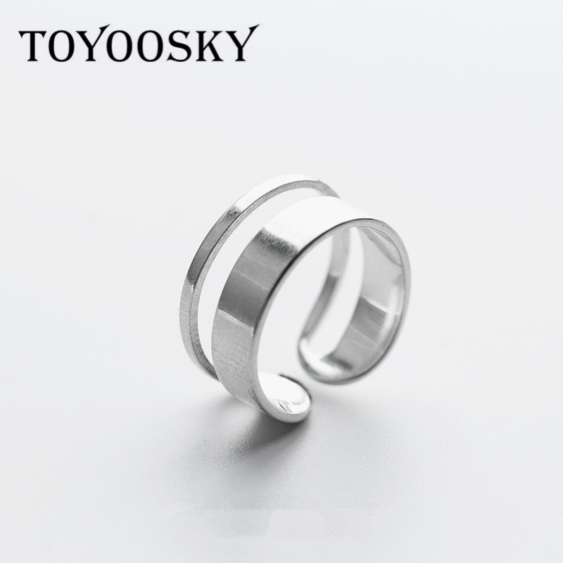 TOYOOSKY S925 New Design Open Finger Ring Punk Lovely Personality Multilayer Hollow Exaggerated Geometry Accessories punk style exaggerated square hollow out conjoined ring cuff bracelet for women