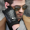 Hombres otoño invierno nuevos remiendo suave forro de conducción de cuero clásico pantalla táctil inglaterra piel de oveja guantes calientes mitones