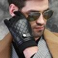 Homens outono inverno patchwork forro luvas de pele de carneiro luvas de condução de couro clássico inglaterra quente