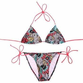 NAKIAEOI Sexy Bikinis Women Swimsuit 2018 Beach Wear Bathing Suit Push Up Swimwear Female Printed Brazilian Bikini Set Swim Wear 3