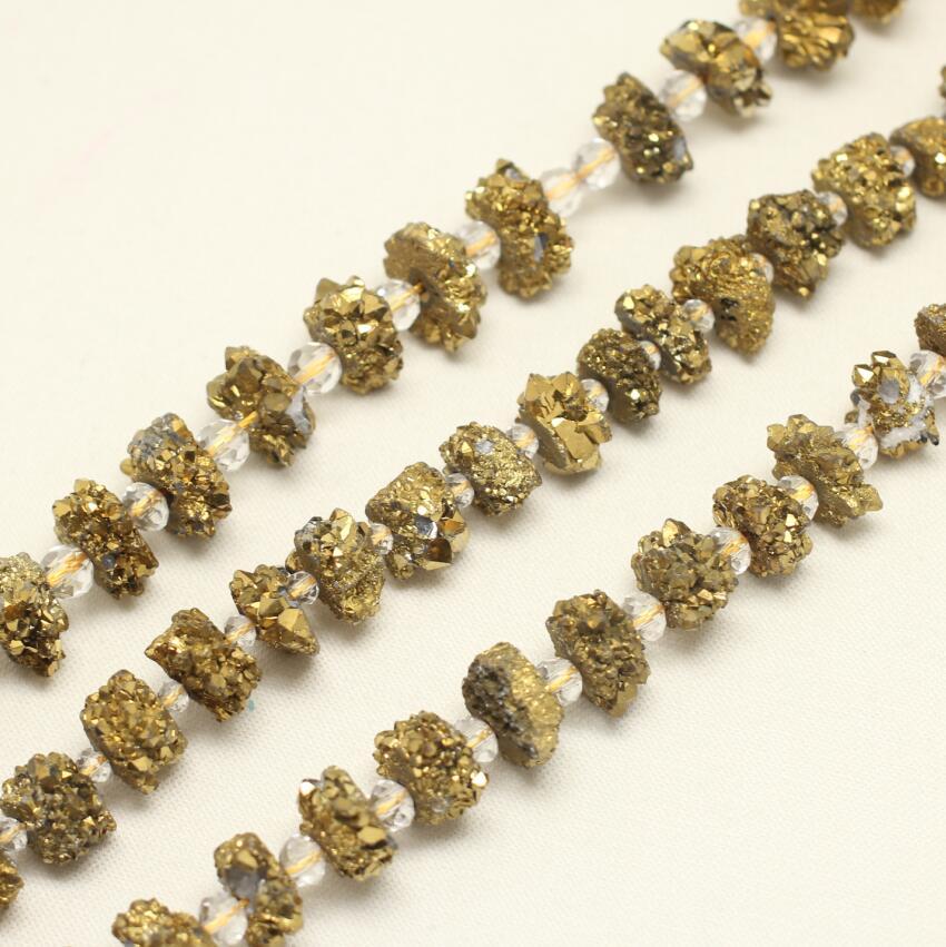 Полный Strand солнца цветок Druzy купля свободные шарики, пробурено золото Титан Drusy Geode Природный купля камни плиты ломтик самородками