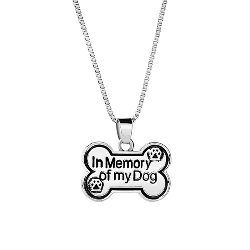 IN MEMORY OF MY DOG Letters Puppy Lover Bone Tags Dogs Favourite Food Bone Shape Canine Memorial Jewelry For Pet Lovers