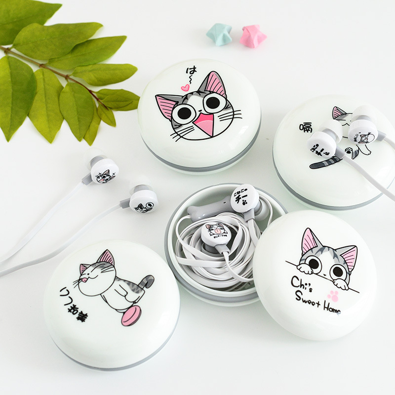 цены New Cute Cat Earphones 3.5mm in-ear Stereo Headphone with Microphone Earphone Case Universal for Mobile Phone Girls for MP3 Gift