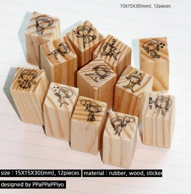 Must Have Household Items Part - 28: 12 PCS/Box New Wooden Cartoon Girl Miss Seal Matchbox Seal Mr STMAP Seal  Household