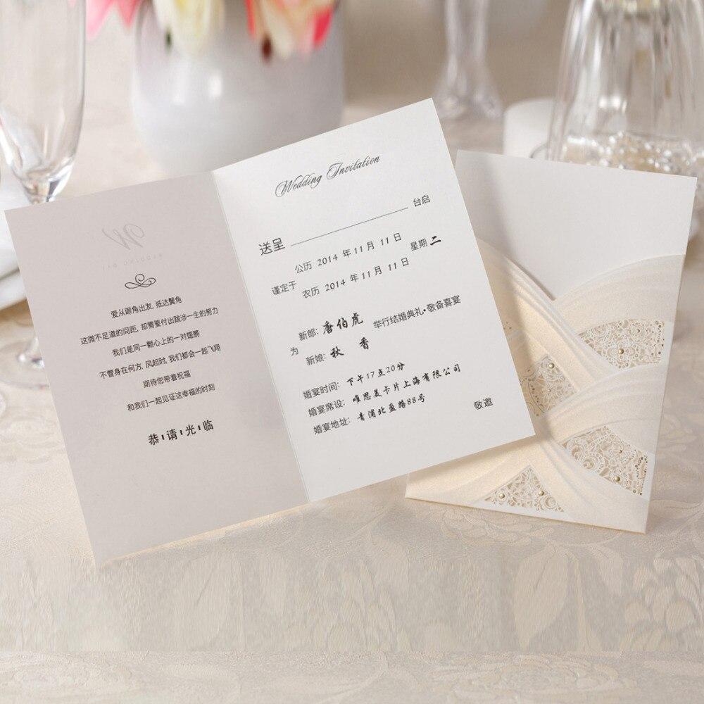 Invitación de boda con corte láser Vertical con Flora hueca blanca para suministros de fiestas de matrimonio, 50 unids/lote, CW060 personalizable gratis-in Tarjetas e invitaciones from Hogar y Mascotas    3