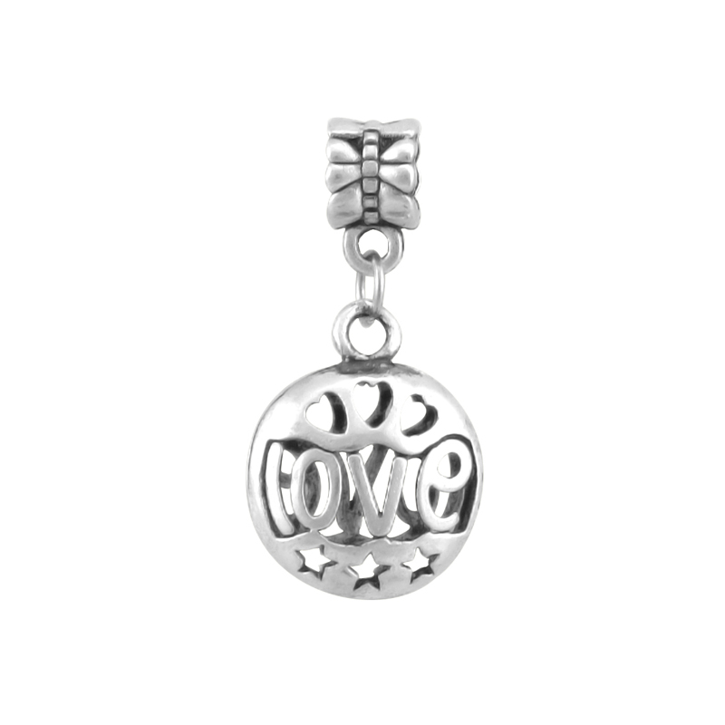 Silver Plated Vintage Hollow Out Love Pendant Charms Bead Fit Pandora Charm Bracelets For Women DIY Jewelry Making SPP010