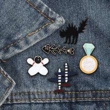 Funny Brooches Black Thrilling Cat Meets Fish Bone Buttons Icon Gold Medal Airplane Bowling And Ball Bottle Hobbies Enamel Pins(China)