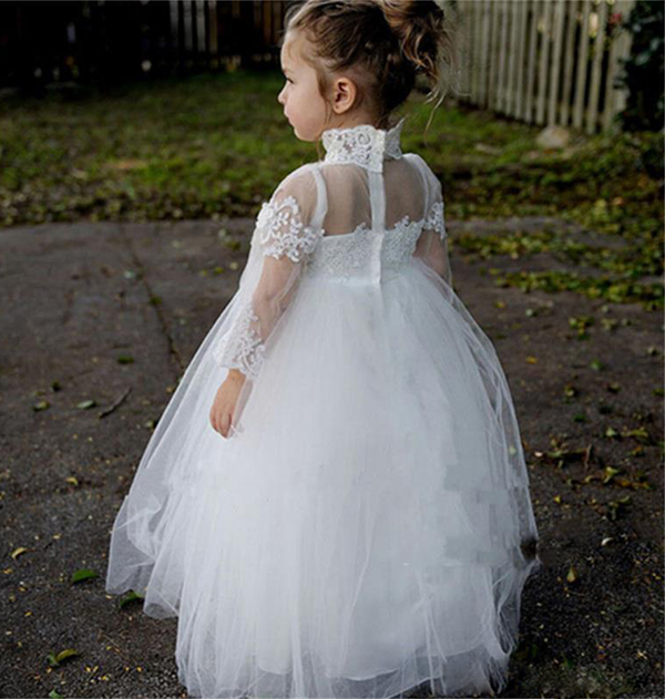 Rustic country high neck long sleeves sheer neck Flower Girl Dresses for Wedding formal occasions ball gowns juniors kids frocksRustic country high neck long sleeves sheer neck Flower Girl Dresses for Wedding formal occasions ball gowns juniors kids frocks