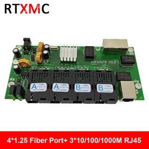4GF3GE Gigabit Ethernet switch Ethernet Fiber 4*1.25G Fiber Port & 3*101/100/1000M UPT Gigabit Fiber Switch PCBA(China)