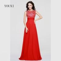 Sexy Red Prom Dresses 2017 New Chiffon Beaded Crystal Formal Evening Gowns PD62