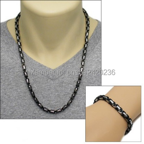 Stainless Steel 10mm Yellow Flat Square Byzantine Necklace Chain /& Bracelet Set