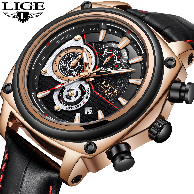 New LIGE Men Watches Top Brand Luxury Large Dial Leather Quartz Watch Men Military Waterproof Sport WristWatch Relogio Masculino