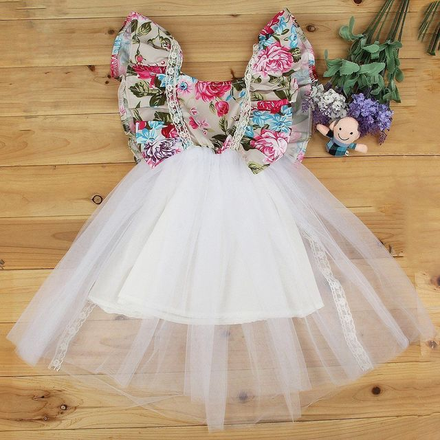 Toddler Kids Baby Girls Summer Flower Princess Dress Party Wedding ...