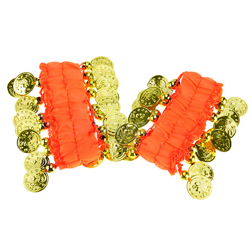 1 Pair Belly Dance Wear Bracelets Wrist Ankle Arm Cuffs Shiny Beads Gold Coins - orange