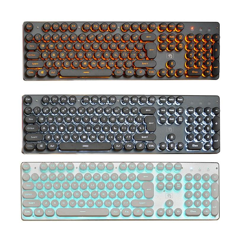 Nworld K100 Steampunk Retro Keycap USB Wired Glowing Backlit 104 Keys Keypad Gaming Mechanical Keyboard for Laptop Computer