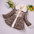 Wholesale children's clothing fashion baby girls embroidered breasted leopard fur coat winter kids long sleeve warm soft jacket