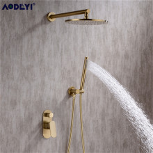 Solid Brass Bathroom Shower Set Rianfall Shower Head Shower Faucet System Wall Mounted Shower Arm Mixer Water Sets Brushed Gold