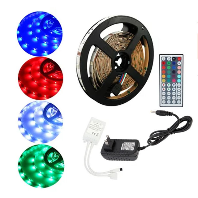 5M RGB LED Strip SMD 5050 30LED/M Flexible 150 LED 44key Remote Controller 12V 2A Power Adapter