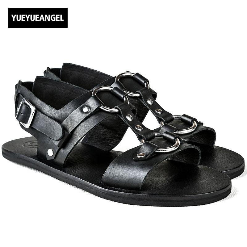 2018 New Designer Man Sandals Genuine Leather Shoes Beading Outside Casual Buckle Strap Flats Men Streetwear Beach Sandals Shoes