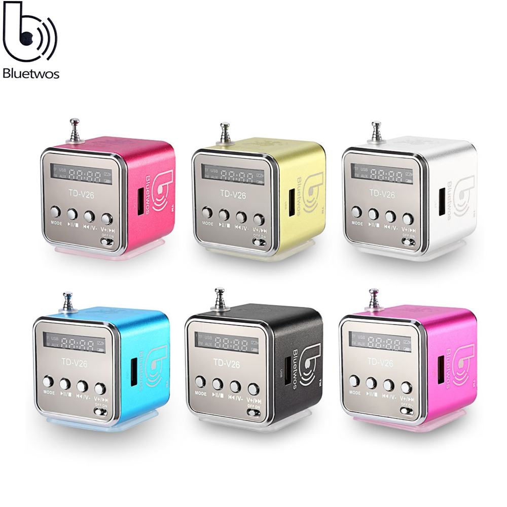 Bluetwos V26 Mini Speaker Micro SD USB Music Player For phone Laptop MP3 MP4