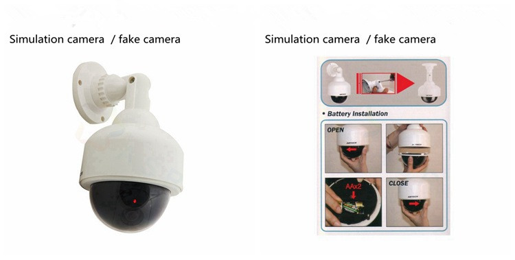 battery Security CCTV Outdoor Weatherproof Simulation Fake Camera Dummy Dome Camera Surveillance Cheap Price Dummy Camera W/ LED