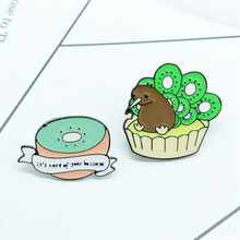 New product cute half kiwi bird nest bird badge brooch creative personality backpack jewelry children brooch gift