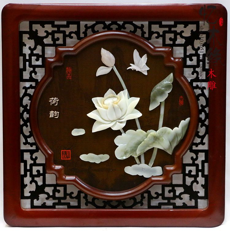 Dongyang woodcarving, jade carvings, pendants, Chinese living room decoration, natural jade reliefs, murals, paintings, square,