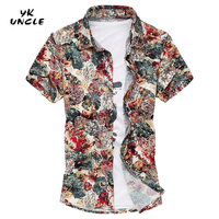YK UNCLE Brand 2017 New Fashion Summer Plus Size Gold Thread Floral Printed Shirts Short Sleeve