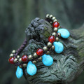 Turquoise beads bracelets for women ancient copper beads red agate women bracelet jewelry Chinese style vintage jewelry 0849
