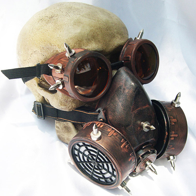 Punk Retro Glasses Gas Mask Windshield Gothic Cosplay Men's Military Goggles Gas Mask Role-playing Rock Glasses Halloween