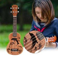 21 Inch Ukulele 4 Nylon Strings Dolphin Pattern Hawaii Ukelele Mini Guitar Soprano Rosewood Music Lover Instrument Gifts soprano ukulele 21inch mahogany wood beginner 4 strings mini guitar rosewood fingerboard neck music instrument