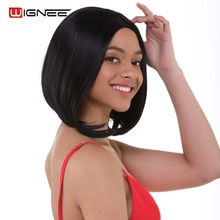 Wignee Short Bob Lace Wigs Synthetic For Black Women Heat Resistant Natural Black Straight Grace Hair African American Bob Wigs все цены