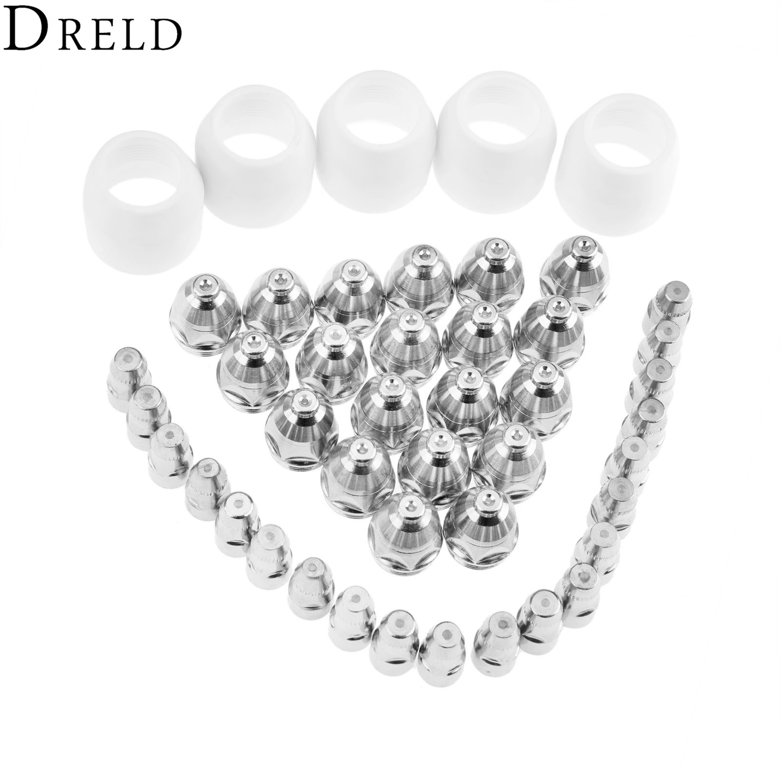 DRELD 45pcs/set P80 Electrode Tips 1.5  Nozzle Shield Cup For P-80 Plasma Cutter Torch Consumable 80-100A Welding Soldering Tool