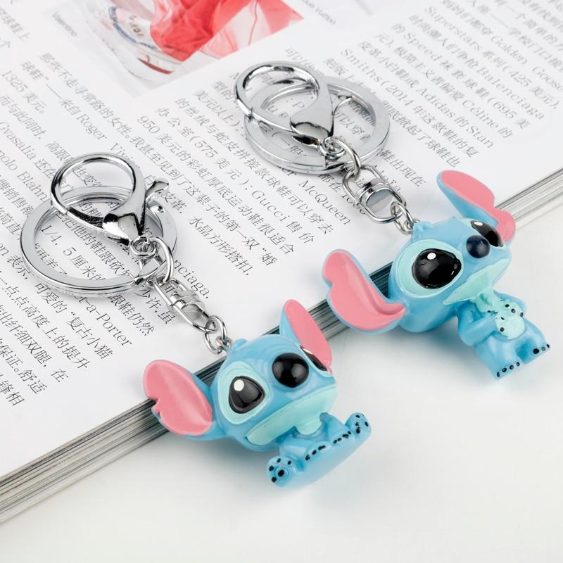 Cartoon Trinket Resin 3D Stitch Keychain Lovely Key Ring Car Keyholder Women Men Key Chain Llaveros