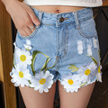 Cintura alta Shorts Jeans Mulheres Verão 2016 Shorts Jeans Femme Quente Bordado Curtas Jeans Branco Feminino