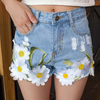 Embroidery Denim Shorts Women High Waist Shorts Jeans Floral Embroidered Jeans 2017 Womens Summer Short Femme girl shoes in sri lanka