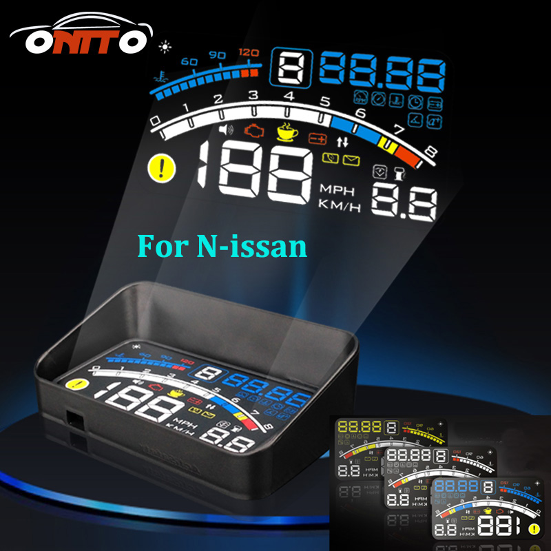 High quality For Teana Sylphy Qashqai Livina Tiida Cube 4E 5.5 Car OBD2 II EUOBD Car HUD Head Up Display projector lamps rastp m9 hud 5 5 inch head up windscreen projector obd2 euobd car driving data display speed rpm fuel consumption rs hud011