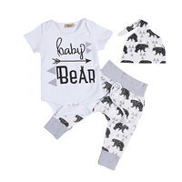 3PCS Set Newborn Infant Baby Clothes Short Sleeve Baby Bear Boys Girls Romper Pant Hat Outfit