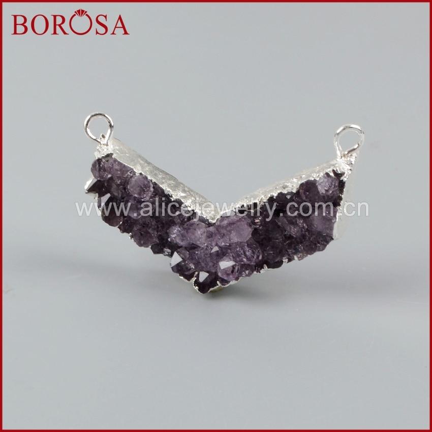 BOROSA 5pcs Natural Purple Crystal Druzy Connector, Silver Color V Shape Natural Purple Crystal DrusyConnector Charm S1262