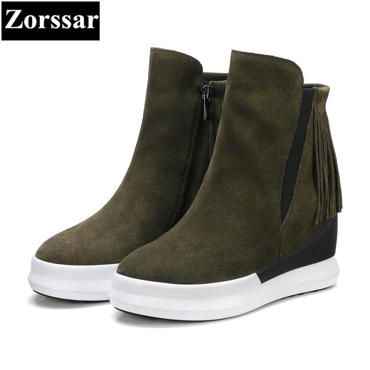 Zorssar women boots wedge2017 New Fashion tassel Cow Suede platform short boots Casual zipper woman