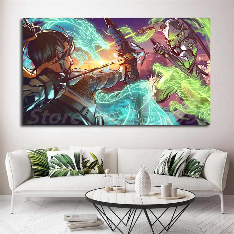 جينجي VS هانزو Overwatchs التنين الفن خلفيات الفن قماش المشارك جدارها صورة طباعة المنزل غرفة نوم الديكور لا الإطار