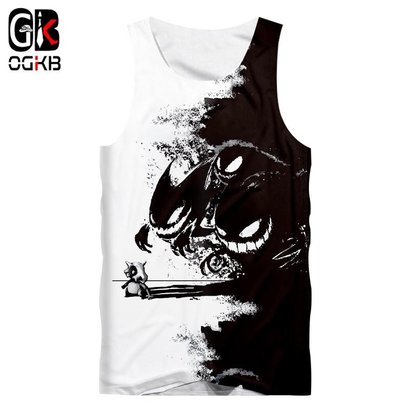 OGKB Man Hot New Loose Black and white 3D Printed Funny Pokemon Sleeveless Big Size Men's   Tank     Top   5XL