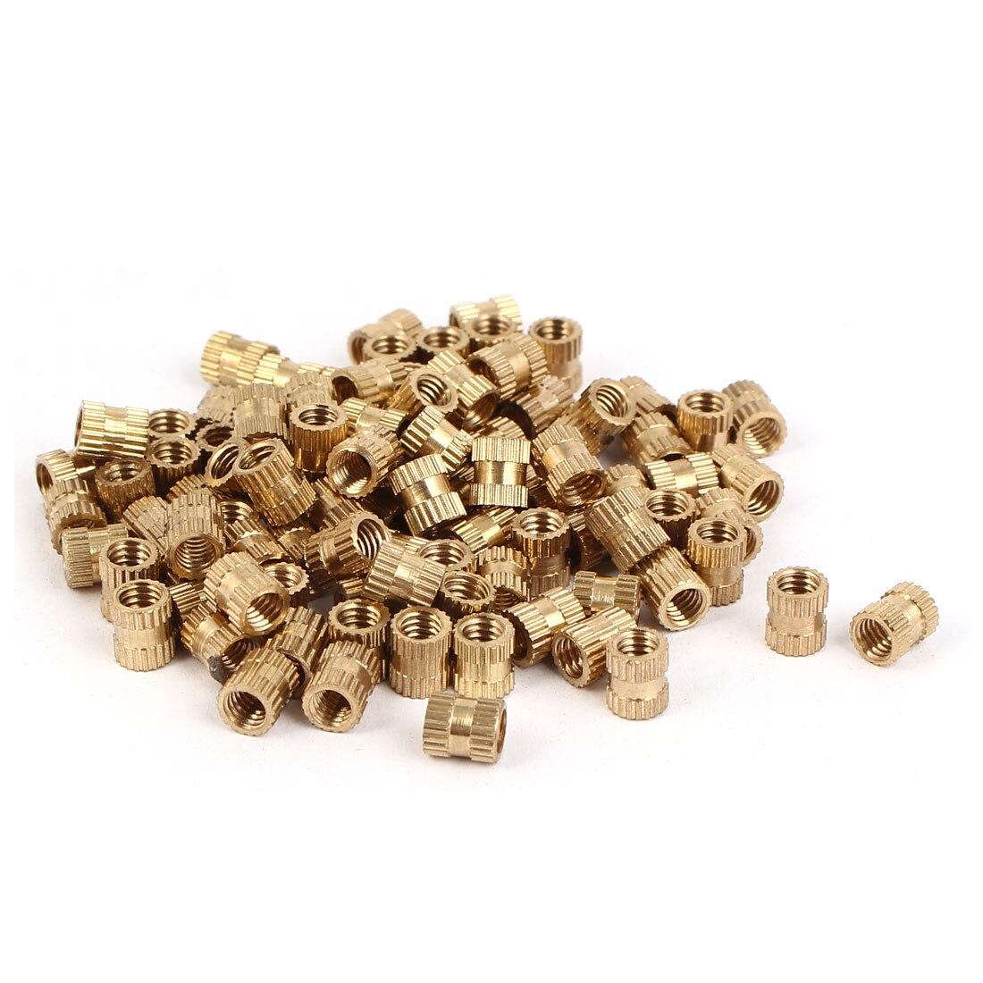 Female Thread Brass Embedment Assortment Kit 30 Pcs M5 x 12mm OD L uxcell Knurled Insert Nuts x 7mm