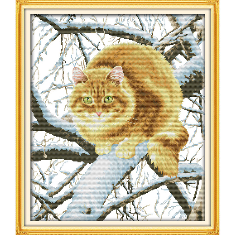 Everlasting love Christmas The fat cat on the tree Chinese cross stitch kits Ecological cotton stamped New store sales promotion