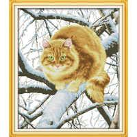 Ewige liebe Weihnachten Die fett katze auf die baum Chinesische kreuz stich kits Ökologische baumwolle gestempelt Neue store sales förderung