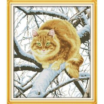 Wieczna miłość boże narodzenie tłuszczu kot na drzewie chiński cross zestaw do szycia ekologiczna bawełna nowa promocja sprzedaży sklepu