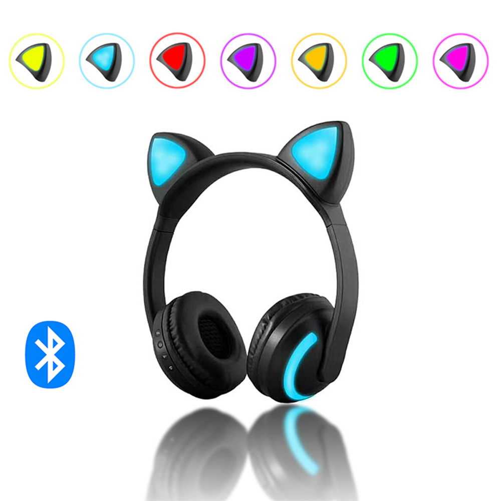 Cat/Devil/Deer Ear Headset Bluetooth Headphone with 7 Color Flashing Glowing Cat Ear Wireless Headphone for Kids Cosplay
