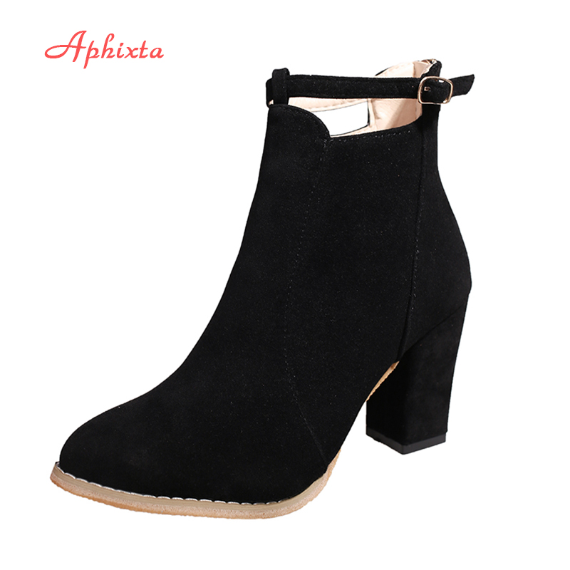 Aphixta Shoes Women Ankle Boots 2017 High Square Heels Pointed Toe Zip Buckle Motorcycle Boots Fashion Sexy Winter 7.5cm Heels famiao women boots sexy high heel zapatos mujer tacon 2017 gary black buckle ankle boots for women shoes pointed toe winter
