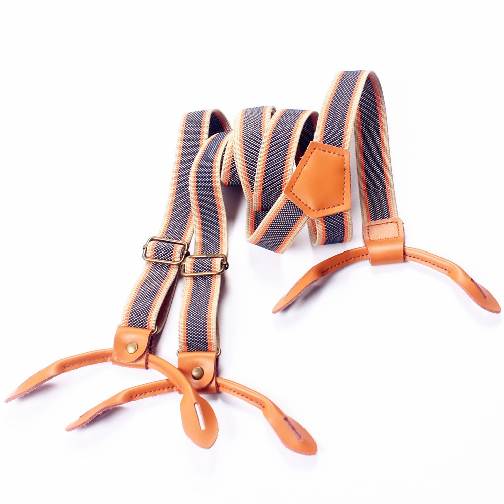 Men's Adjustable 6 Buttons Elastic Suspenders Marriage Clip-on Suspender Women Button Braces Slim Belt Strap