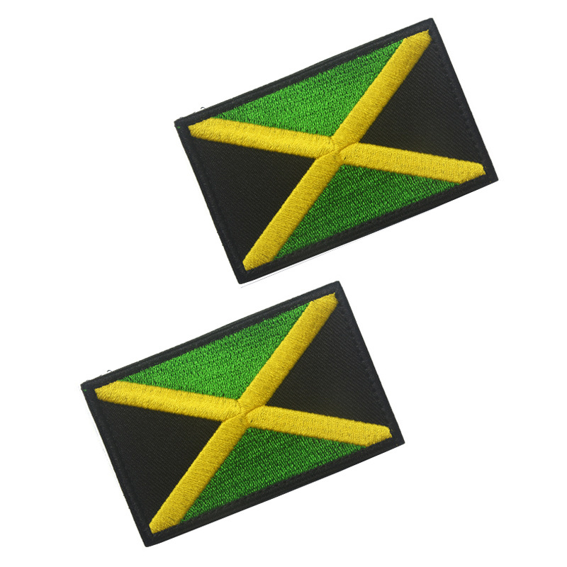 5PCS Full Embroidery Jamaica Flag Patch Backpack Bag Jacket Armband Badge Hook and Loop Double Side 8cm * 5cm